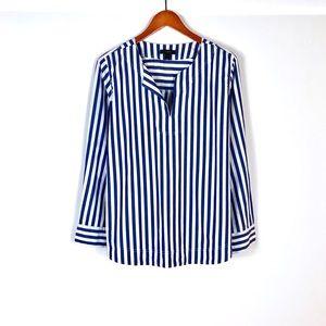 J. Crew blue white striped 100% cotton tunic XL